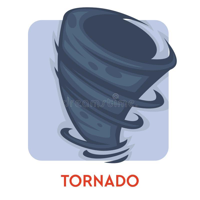 De tornado geïsoleerde roterende kolom van de pictogram natuurramp van lucht royalty-vrije illustratie