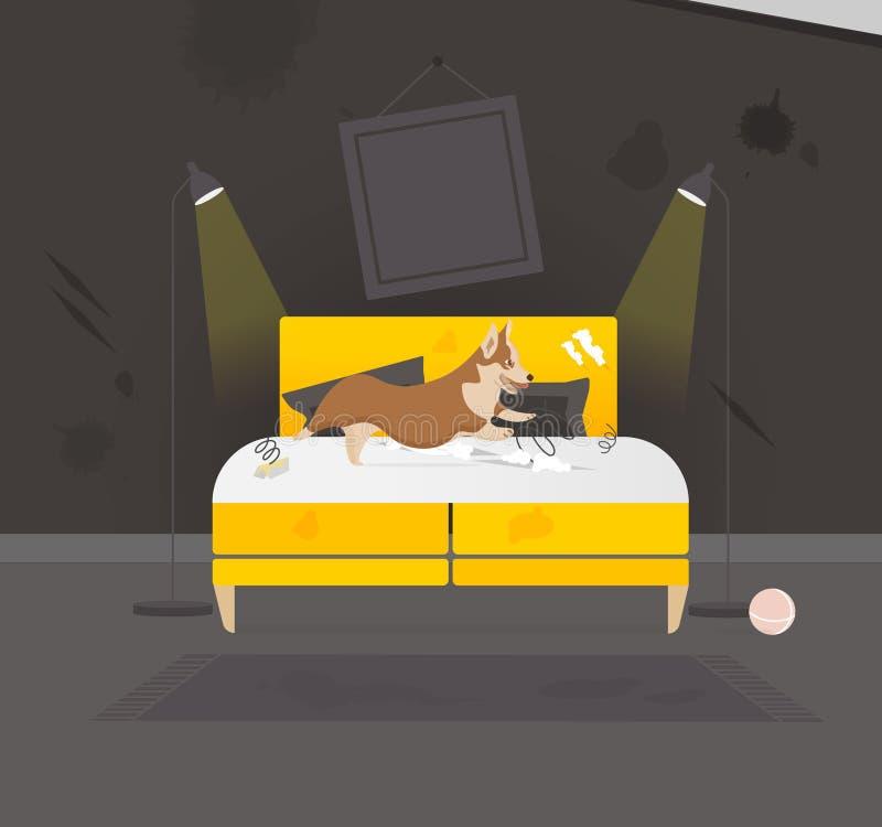 De Torpedojager van het huishuisdier ligt op Bedillustratie stock illustratie