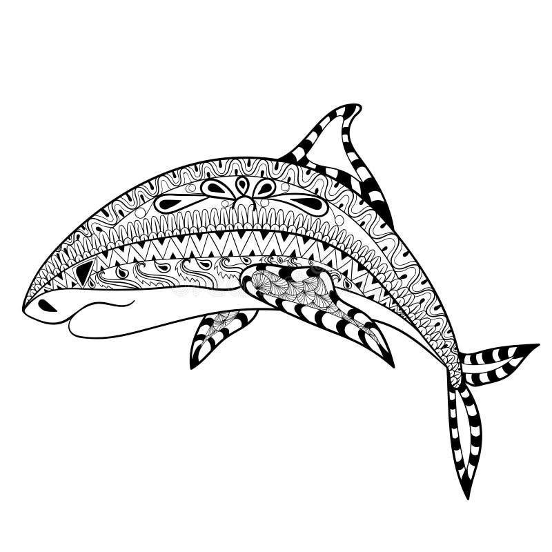 De totem van de Zentanglehaai voor volwassen antispannings Kleurende Pagina voor AR vector illustratie