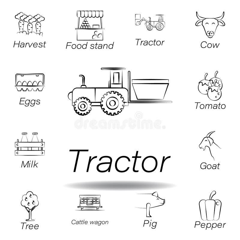 De tractorhand trekt pictogram Element van de landbouw van illustratiepictogrammen De tekens en de symbolen kunnen voor Web, embl stock illustratie