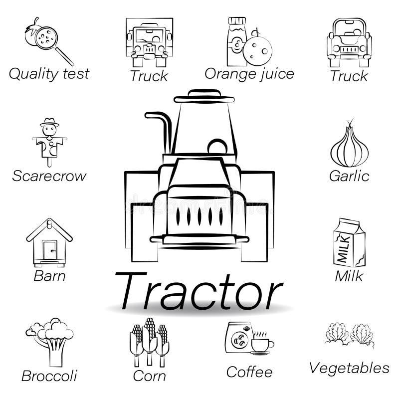De tractorhand trekt pictogram Element van de landbouw van illustratiepictogrammen De tekens en de symbolen kunnen voor Web, embl vector illustratie