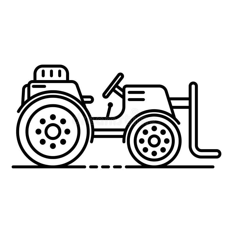 De tractorpictogram van de landbouwbedrijflift, overzichtsstijl vector illustratie