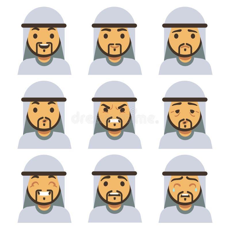 De traditionele Arabische gezichten van de mensenemotie met inbegrip van het glimlachen, droevig, knipogend, lachend, gelukkige g stock illustratie
