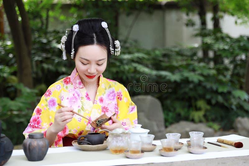 De traditionele Aziatische Japanse mooie Geishavrouw draagt kimono toont de ceremonie van de theekunst thee in een tuin van de de stock foto's