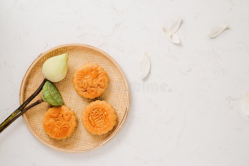 De traditionele cake van de maancake van Vietnamees - Chinese medio de herfstfe stock afbeelding