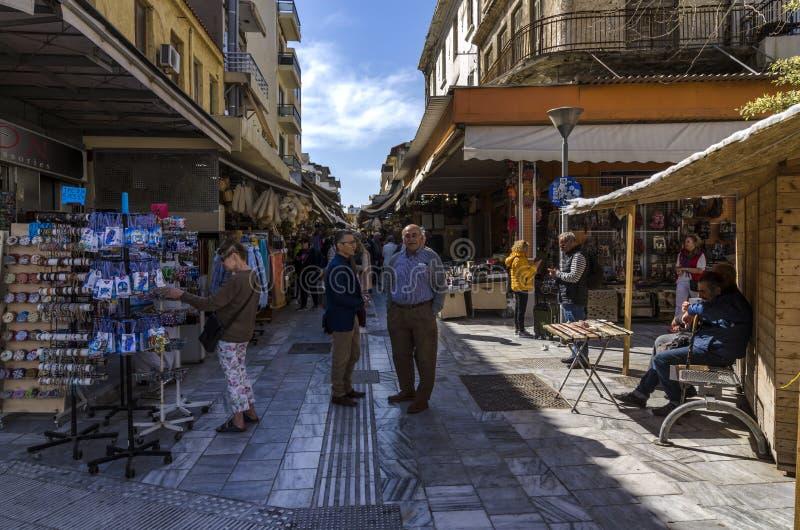 De traditionele centrale markt in de stad van Heraklion stock foto's