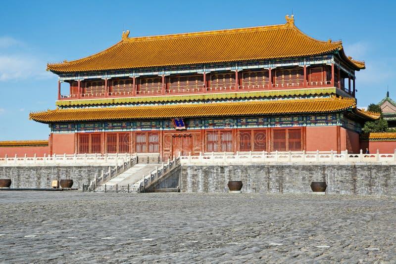 De traditionele Chinese Bouw, Verboden Stad in Peking, schone zonnige dag stock afbeeldingen