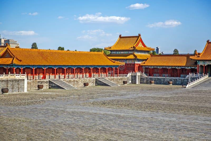 De traditionele Chinese Bouw, Verboden Stad in Peking, schone zonnige dag stock fotografie