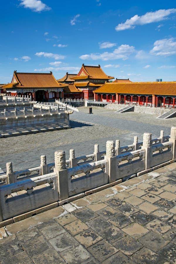 De traditionele Chinese Bouw, Verboden Stad in Peking, schone zonnige dag royalty-vrije stock afbeelding