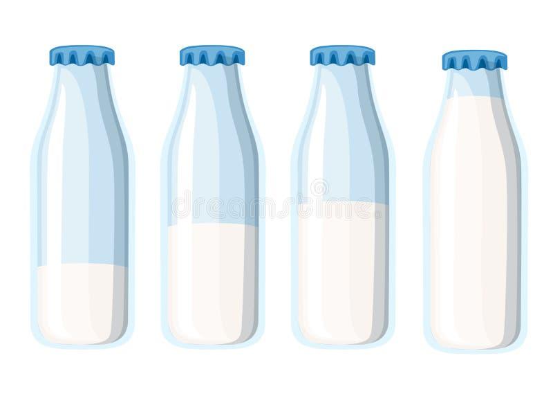 De traditionele fles van de glasmelk Het malplaatje van vier melkflessen Vlakke VectordieIllustratie op Witte Achtergrond wordt g royalty-vrije illustratie