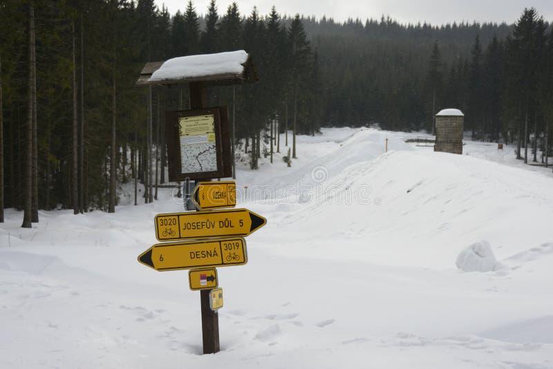 De traditionele Houten die Wegwijzer van Turistic in Sneeuw, Izera-Bergen, Tsjechische Republiek, Europa wordt behandeld stock foto's
