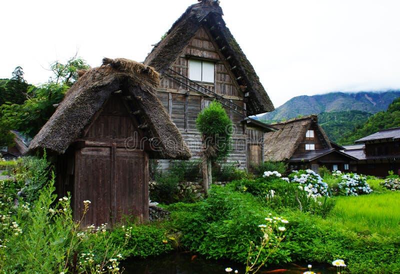 De traditionele Japanse Huisstijl in historisch dorp shirakawa-gaat, de prefectuur van Gifu royalty-vrije stock afbeelding