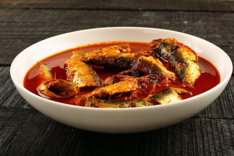 De traditionele kerrie van sardinevissen stock foto's