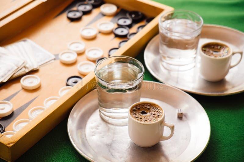 De traditionele koffie van Cyprus bij lokale koffie royalty-vrije stock fotografie