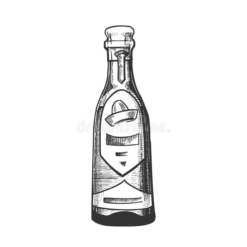 De traditionele Mexicaanse Tequila-Vector van de Drankfles stock illustratie