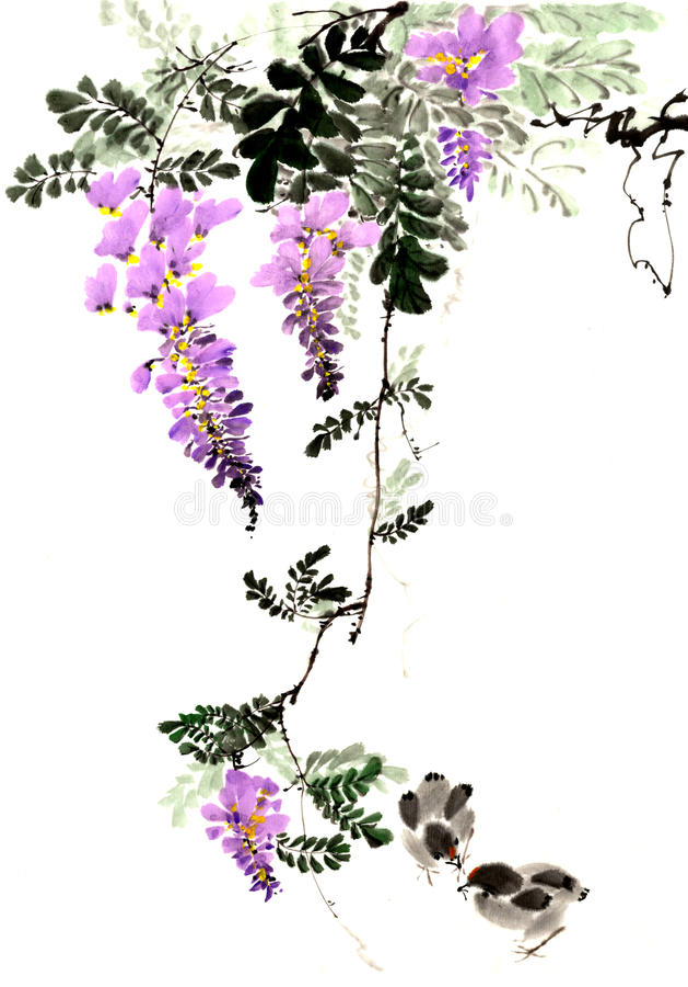 De traditionele oude Chinese hand - wisteria bloeit royalty-vrije illustratie