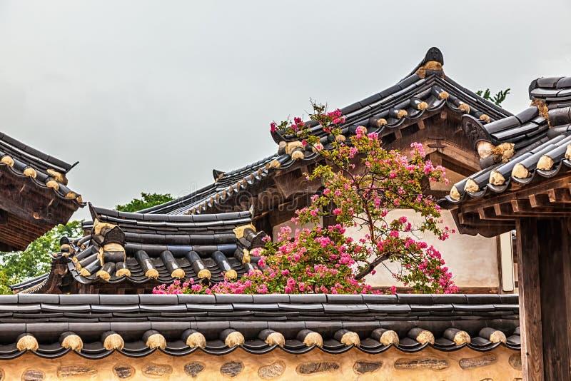 De traditionele oude Koreaanse bouw met boom en bloemen royalty-vrije stock fotografie