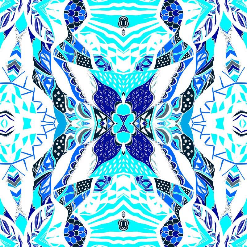De traditionele sierbandana van Paisley Hand getrokken achtergrond met artistiek patroon vector illustratie