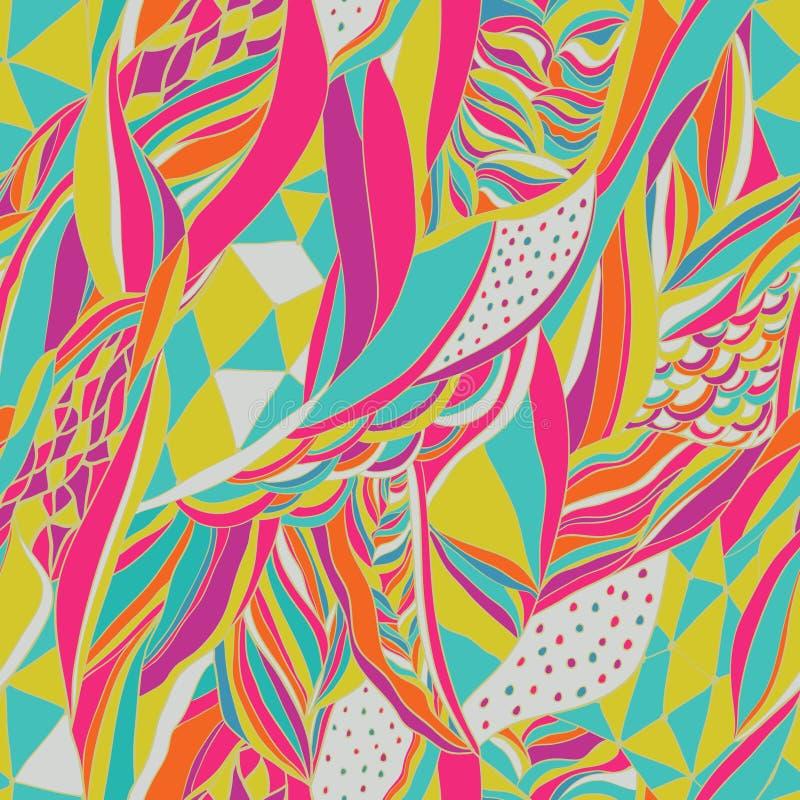 De traditionele sierbandana van Paisley Hand getrokken achtergrond met artistiek patroon Heldere kleuren stock illustratie