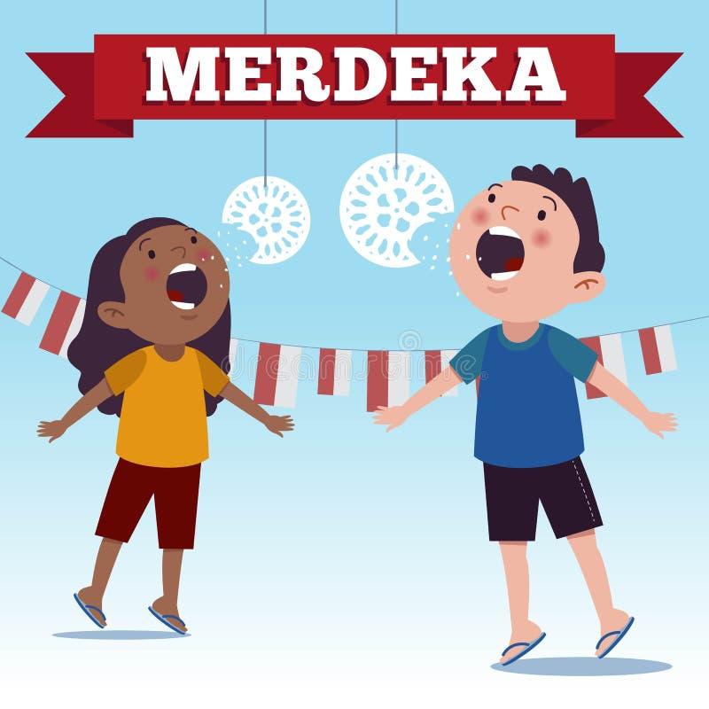 De traditionele speciale spelen van Indonesië tijdens Merdeka-Dag van de Dag de Indonesische Onafhankelijkheid Barst het voeden d stock illustratie