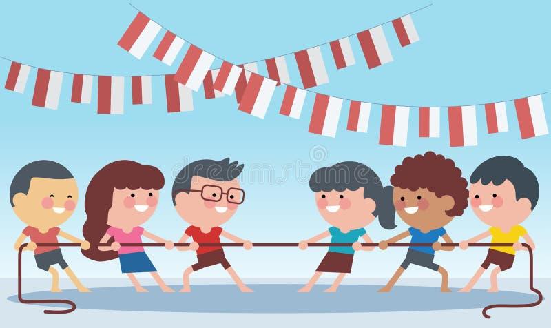 De traditionele speciale spelen van Indonesië tijdens onafhankelijkheidsdag, kinderentouwtrekwedstrijd Vlakke illustratiestijl vector illustratie
