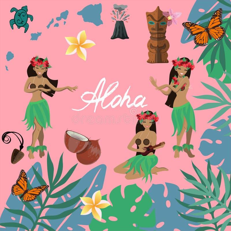 De traditionele symbolen van Hawaiiaanse cultuurreeks, hibiscus bloeien, meisjes het dansen hula en het spelen ukeleles, volan ei stock illustratie