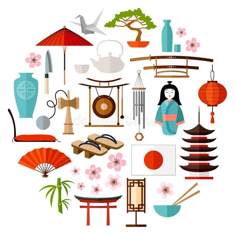 De traditionele symbolen van Japan vector illustratie