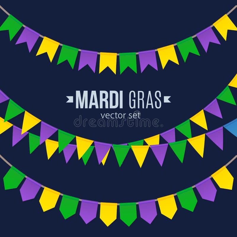 De traditionele vlaggen van Mardi Gras geplaatst die op donkere achtergrond worden geïsoleerd vector illustratie