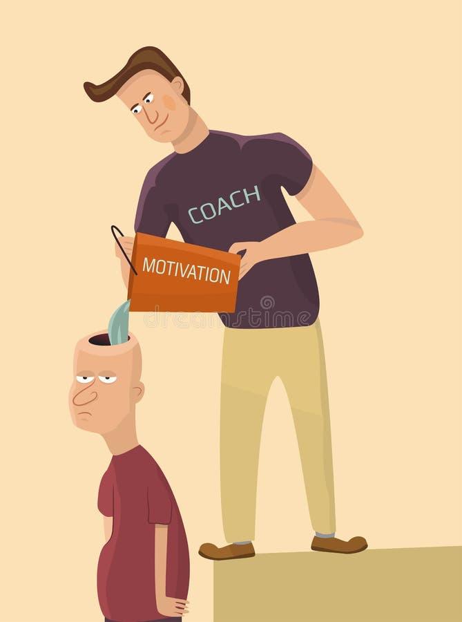 De trainer motiveert de droevige mens royalty-vrije illustratie