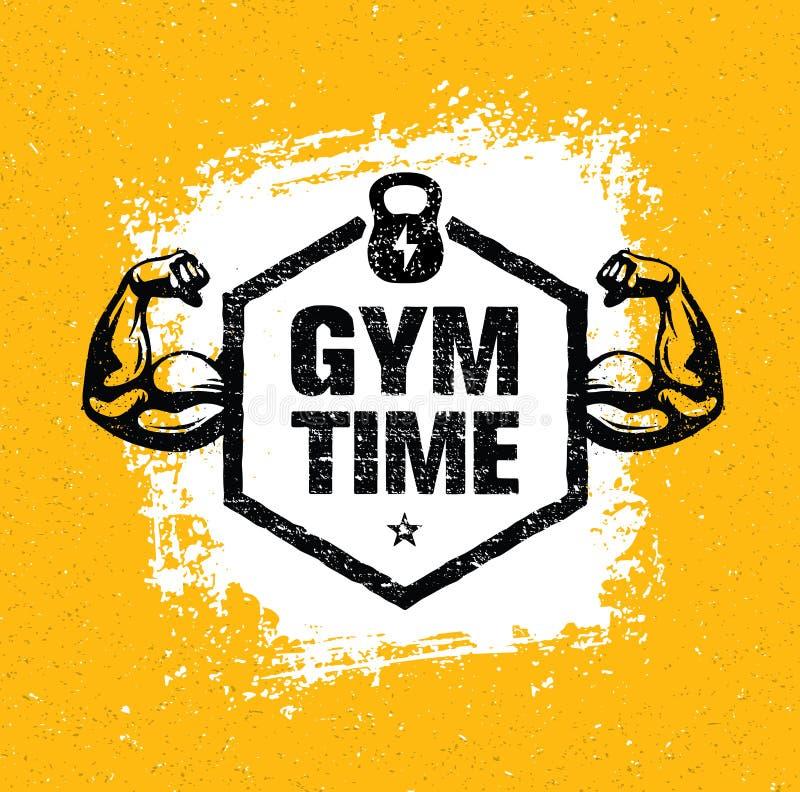 De Training van de gymnastiektijd en het Elementenconcept van het Geschiktheidsontwerp Creatieve Vector op Grunge-Achtergrond royalty-vrije illustratie