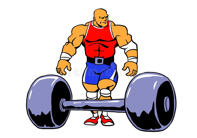 De training van de Powerliftings muscule bodybuilder vector illustratie
