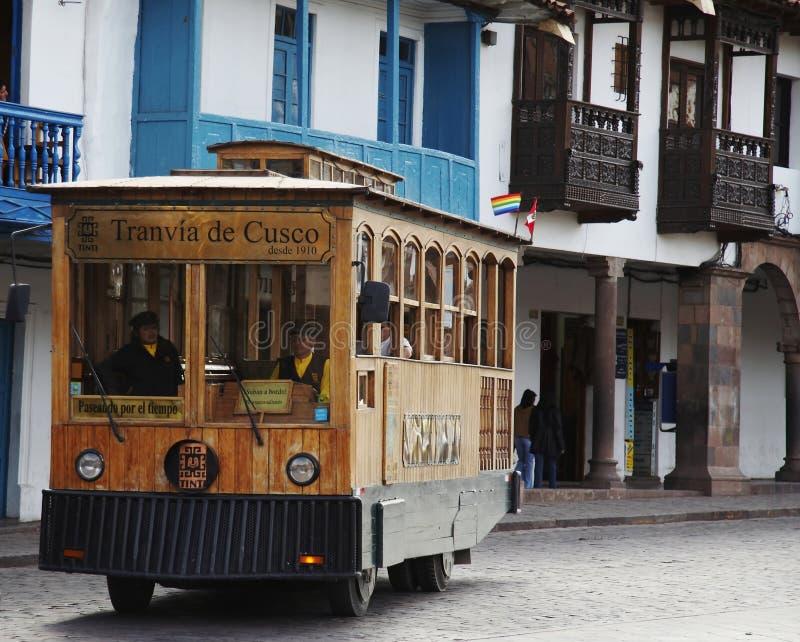 De tram van de excursie in Cuzco, Peru stock fotografie