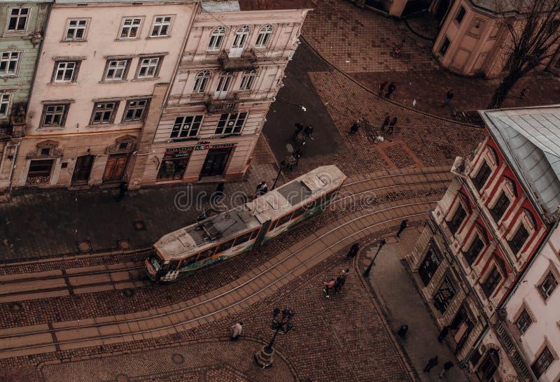 De tram van het Lvivpanorama stock foto's