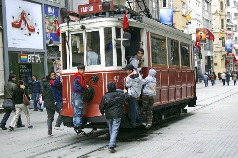De tram van Istanboel van Taksim stock foto's