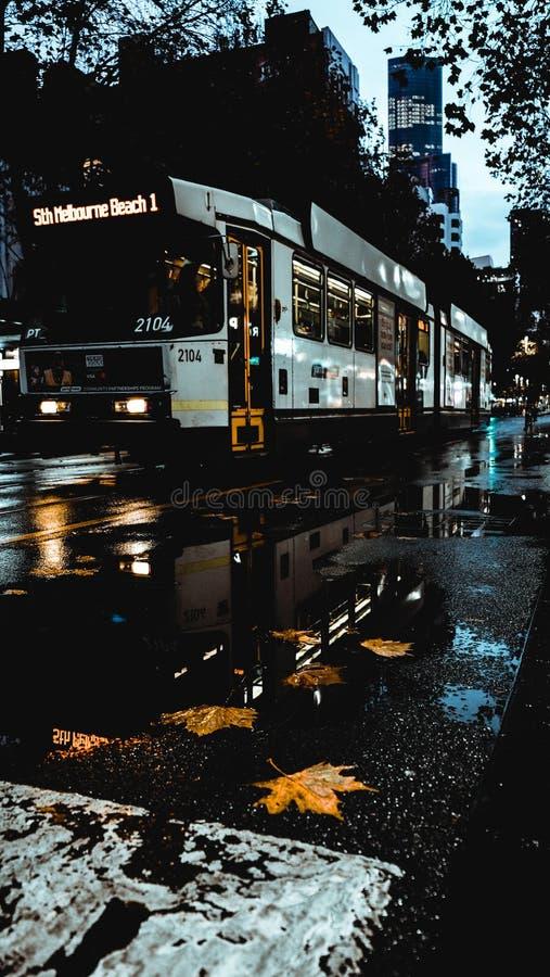De Tram van Melbourne in regenachtige dag stock foto's