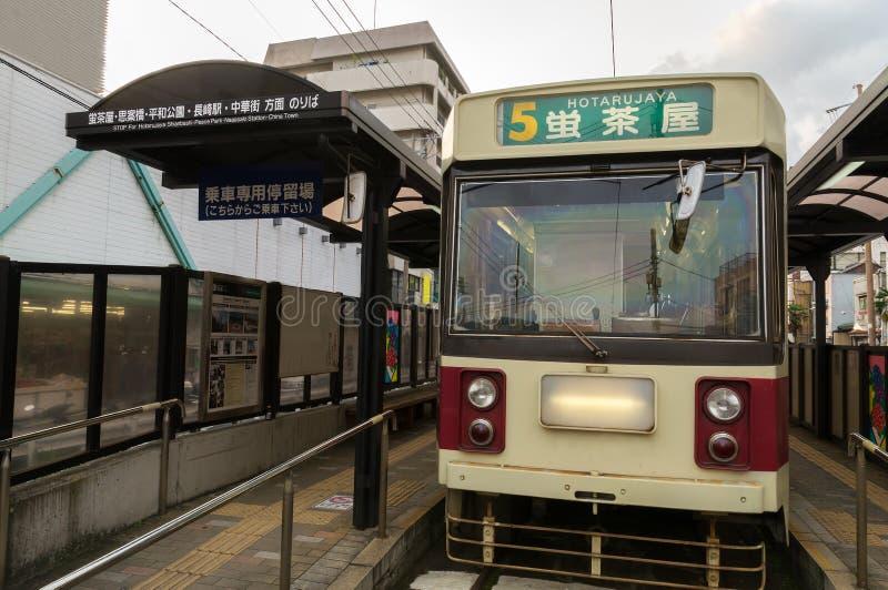 De Tram van Nagasaki stock afbeeldingen