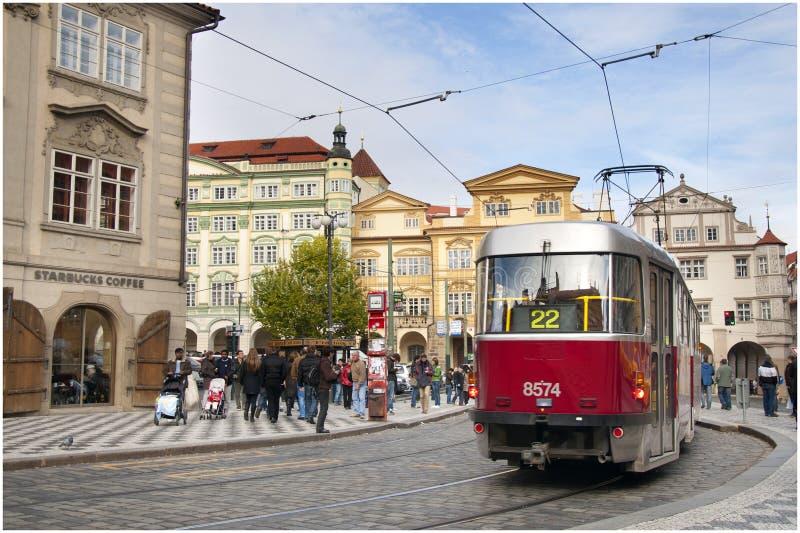 De Tram van Praag stock fotografie