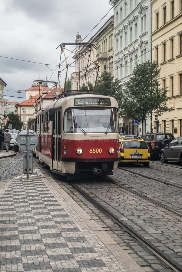 De tram van Praag stock afbeelding