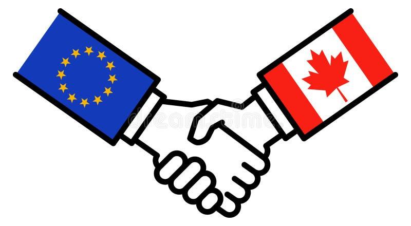 De transactie van de EU CANADA, CETA, handelsovereenkomst, handdruk, grafisch concept, stock illustratie