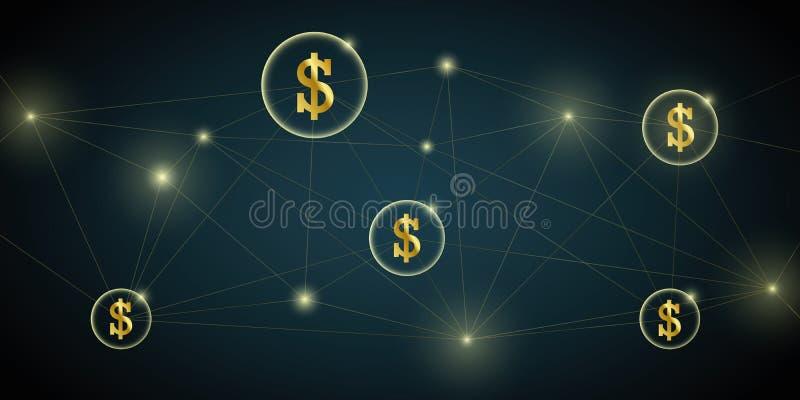 De transactieachtergrond van de digitaal netwerkdollar stock illustratie