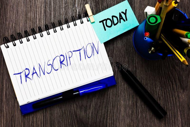 De Transcriptie van de handschrifttekst Concept die Geschreven of gedrukte versie van iets betekenen Duurzame kopie van audio Ope royalty-vrije stock afbeeldingen
