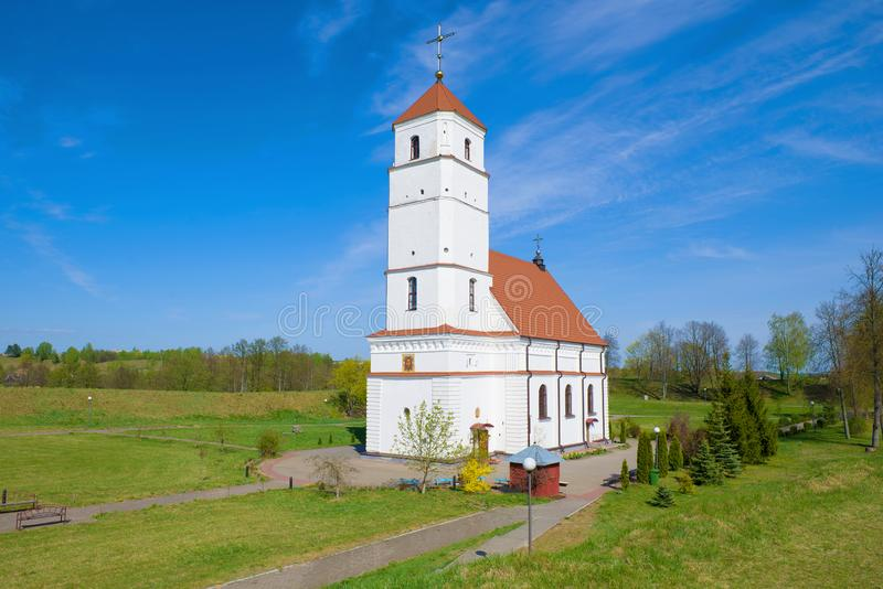 De Transfiguratiekathedraal op het grondgebied van oude regeling Zaslavl, Wit-Rusland stock foto