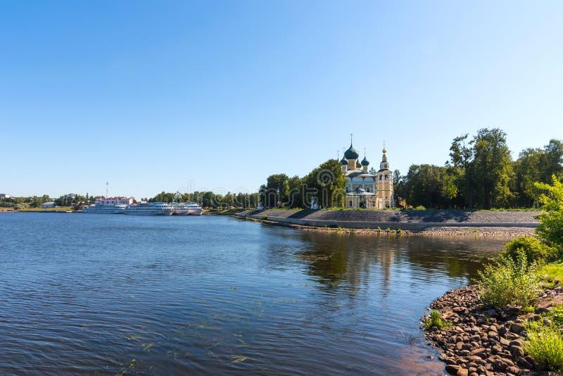 De Transfiguratiekathedraal van het Kremlin in Uglich, Rusland stock foto's