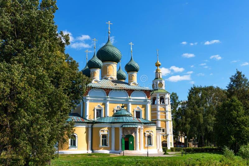 De Transfiguratiekathedraal van het Kremlin in Uglich, Rusland stock afbeeldingen