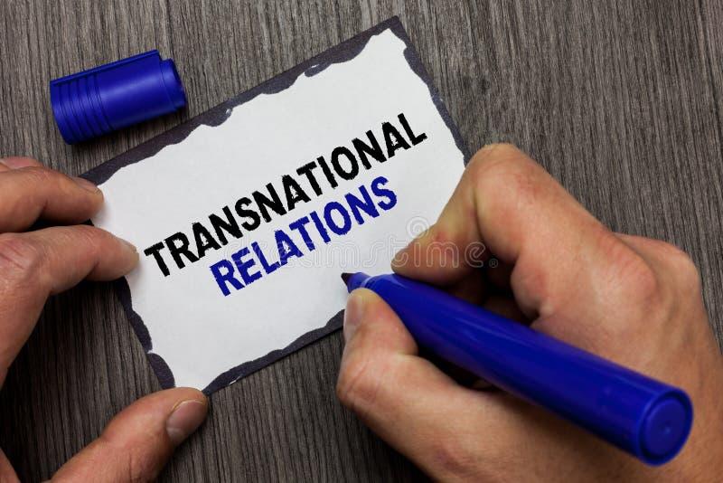 De Transnationale Relaties van de handschrifttekst Concept die de Internationale Globale Grijze Diplomatie betekenen van de Polit royalty-vrije stock afbeeldingen