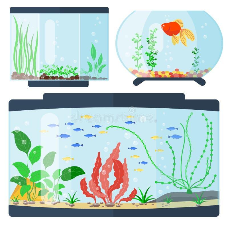 De transparante van het de habitatwater van de aquarium vectorillustratie van het de tankhuis kom van de de vissentank onderwater royalty-vrije illustratie