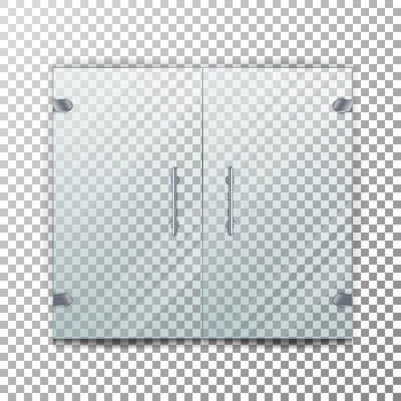 De Transparante Vector van de glasdeur De realistische Deur van het Opslagglas voor Markt en Manierboutique op Geruite Achtergron royalty-vrije illustratie