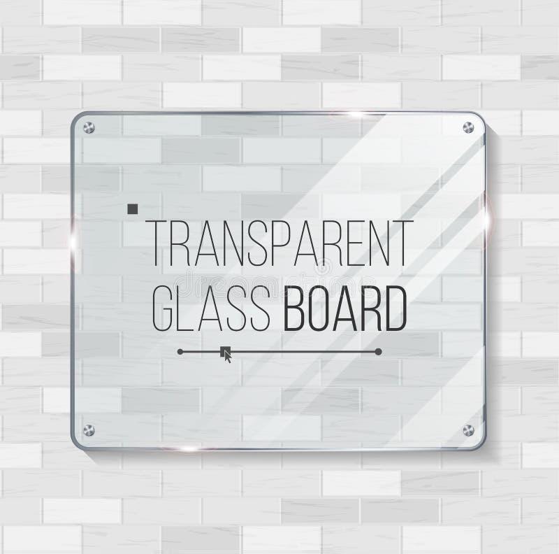 De transparante Vector van de Glasraad Decoratief grafisch ontwerpelement Plastiek of Glaskadermalplaatje Illustratie royalty-vrije illustratie