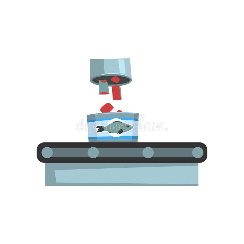 De transportband met ingeblikte vissen, zeevruchtenproductie, de vissenindustrie blikte proces vectorillustratie op een wit in stock illustratie