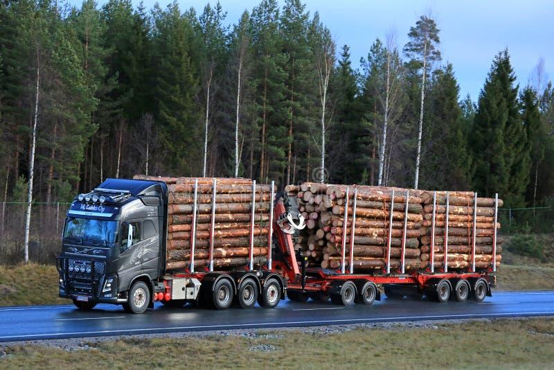 De Transporten van Volvo FH16 Pijnboomhout op Autosnelweg stock afbeeldingen